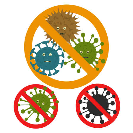 Stop microbe. Microscopic viruses various color and shape. Bacteria infection set. Cell illness, germs parasite icon, bacterium and microorganism. Vector illustration Stock Illustratie