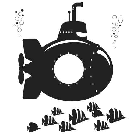 Submarine black silhouette, undersea vehicle with fishes, funny underwater boat with periscope. Flat design. Vector