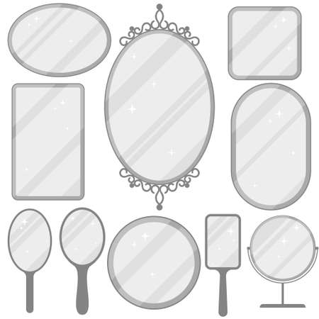 Mirror set, realistic mirrors frame collection, different forms with reflection, Round, rectangular, ellipse. Flat design Vector Illustration