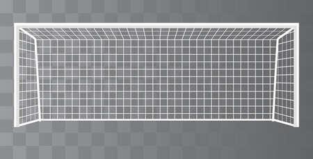 Fußballtor, Fußballtorpfosten mit Netz auf transparentem Hintergrund. Vektor Vektorgrafik