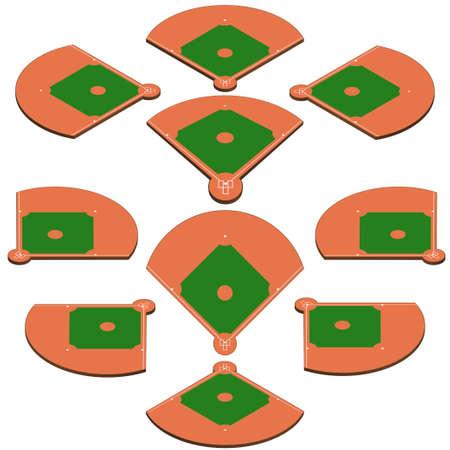 Terrain de baseball vert. Contexte sportif. Modèle de Playgroung de stade de baseball avec des lignes blanches. balisage vectoriel