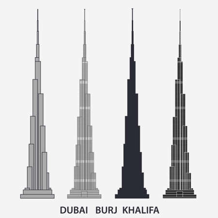Burj Khalifa tower Dubai. Skyscraper silhouette, famous building. Vector
