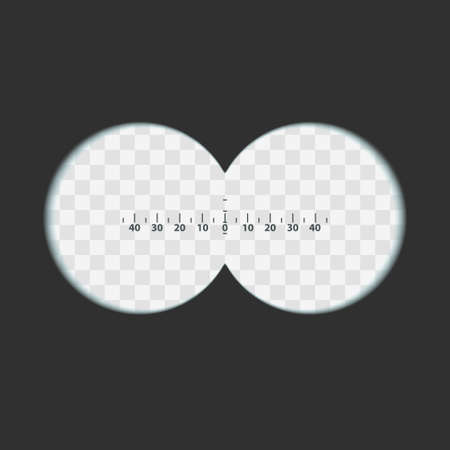 Binoculars view with transparent soft edges lens and Measuring scale. Two circles with transparency fields. Vector