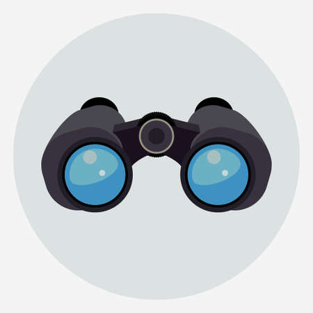 Jumelles avec lentilles bleu clair isolées, icône de recherche d'explorateur. Vecteur