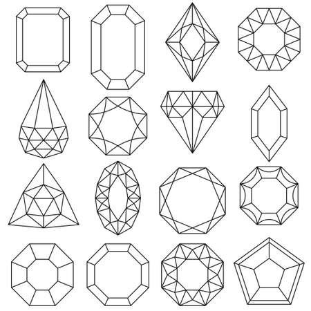 Conjunto de joyas, gemas y diamantes, iconos de lujo aislados, diseño de esquema. Vector