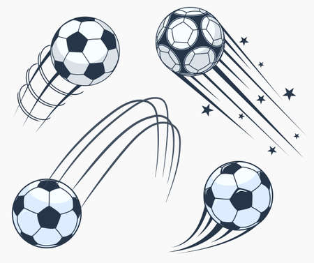Soccer football moving swoosh elements, ball with motion trails, dynamic sport sign, sporting emblems design. Vector 矢量图像