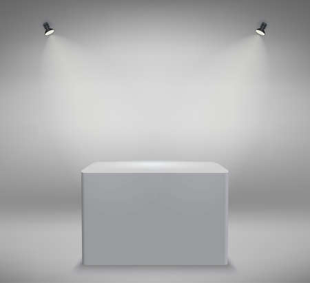 Light stage platform with spotlights, Product presentation podium illuminated with light, empty space, white pedestal, blank template mockup. vector Stock Photo