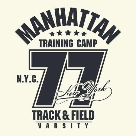 T-shirt stamp graphic, New York Sport wear typography emblem Manhattan vintage tee print, athletic apparel design shirt graphic print. vector  イラスト・ベクター素材