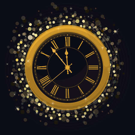Golden New Year Clock on a Magic Glowing background with bright sparkle lights and shiny spots. Vector illustration