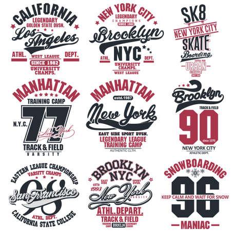 T-shirt stamp graphic set, New York Sport wear typography emblem collection, skate vintage tee print, athletic apparel design graphic print. vector 向量圖像