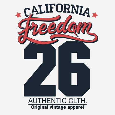 California Freedom sport wear T-shirt design. Shirt Typography Graphics. emblem, tee print, athletic apparel design. Vector