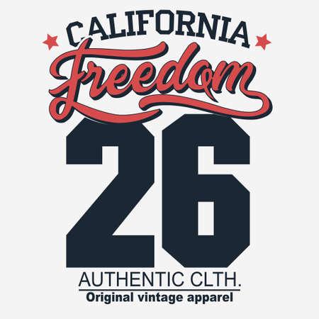 Projekt koszulki California Freedom. Koszula typografia grafiki. godło, nadruk na koszulce, projekt odzieży sportowej. Wektor