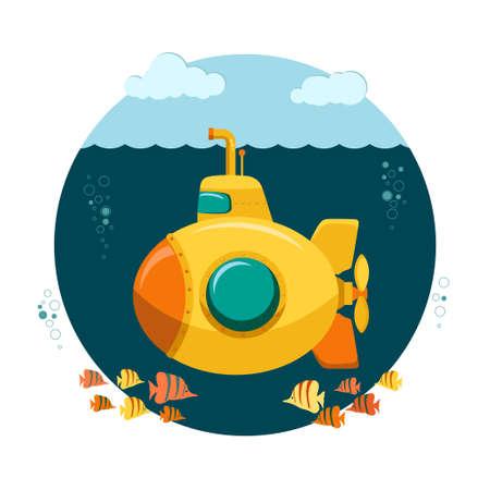 Gelbes U-Boot-Unterseeboot mit Fischen im Cartoon-Stil, mit Periskop, Bathyscaphe-Unterwasserschiff, Tauchen am Meeresgrund, flaches Design. Vektor