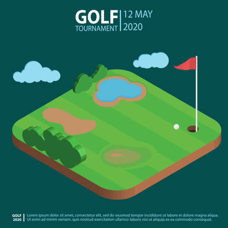 Golf course isometric landscape, hole with flag an ball. Golf-club Sport Composition Concept and Elements. Playing field, Green lawn, bushes and pond. Vector Vetores