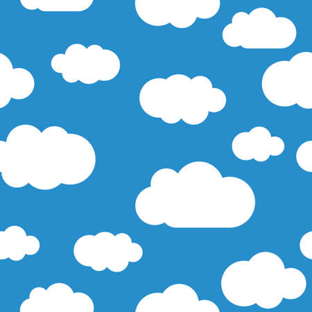White clouds seamless pattern, light blue sky. Endless background Vector