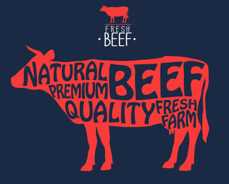 Butcher shop label. Badge with Cow silhouette isolated. Fresh Beef vintage print. Butchery meats farmers market. Prime Beef Stamp. Vector Ilustrace