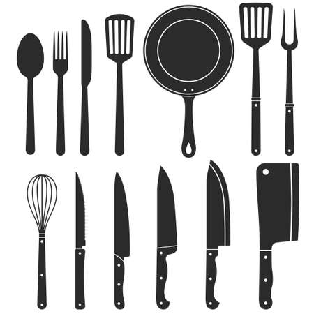 Kitchen knife silhouette, kitchenware, Meat cutting knives, Cutlery set, butcher themes. Grill fork and frying pan. Spatula and whisk. Vector