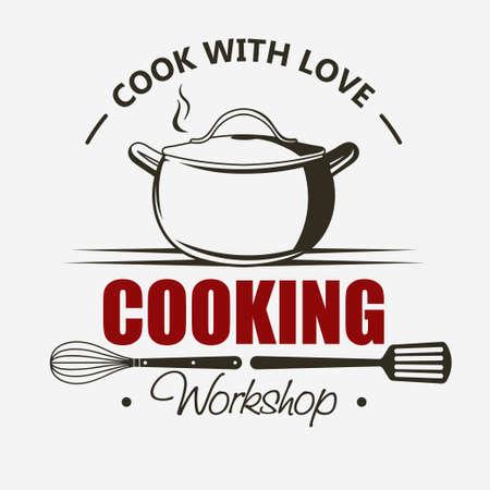 Symbole de cuisine, ensemble d'emblèmes, modèle d'étiquettes de classe de maître Casserole Cook and Food, école culinaire, atelier culinaire, ustensiles de cuisine de chef, cours de cuisine. vecteur
