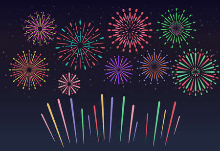 Colorful Fireworks on night sky background. Christmas pyrotechnics firecracker. Event service symbol Celebration fire firework. Bright anniversary firecracker flashing on dark blue backdrop. Vector illustration