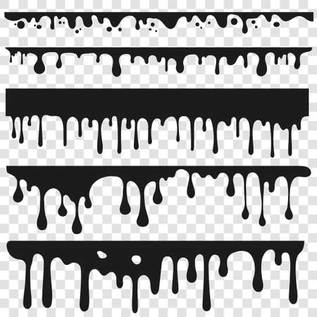 Dripping oil, Black paint. Liquid stain. Current Drip, chocolate drop, drippings stains. Black resin inked drops. Vector