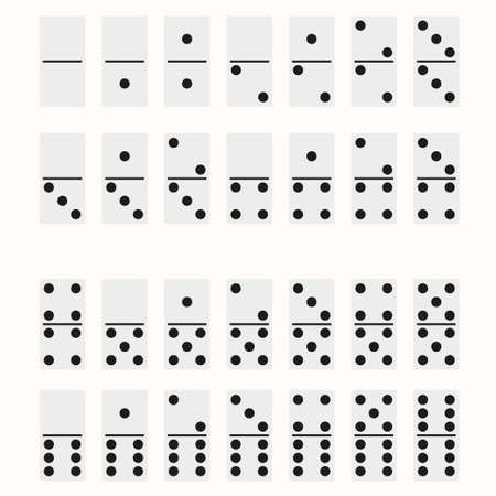 Domino full set. Dominoes bones signs isolated on white. vector