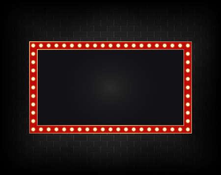 Cartelera realista en la pared de fondo de ladrillo oscuro, marco de luces led. Señalización de rectángulo de carretera con brillo. Banner de decoración brillante eléctrica. Publicidad plaza brillante con luz de neón. Vector