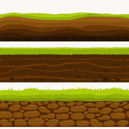 Soil Seamless layers ground layer. Stones and grass on dirts. Vector Illustration