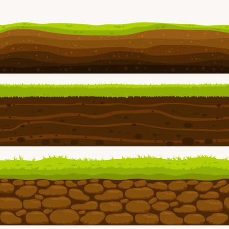 Suelo Capas sin costuras Capa de tierra. Piedras y hierba en la suciedad. Vector