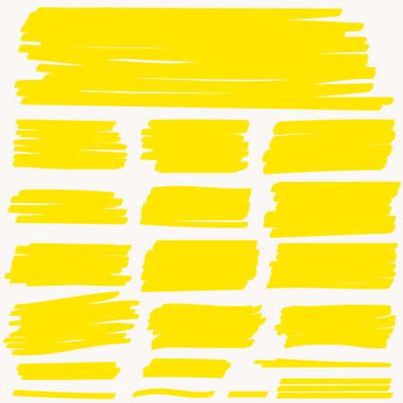 Highlight Marker yellow line, color stroke, highlighter brush pen hand drawn underline. Vector