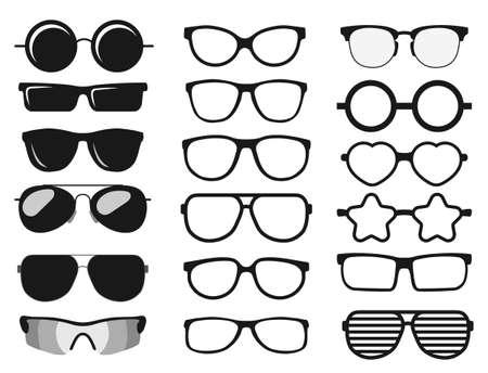Set di occhiali da sole, occhiali da sole per la protezione solare degli occhiali estivi. vettore