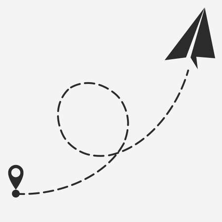 Plane with path of movement, airplane route, trajectory dotted line