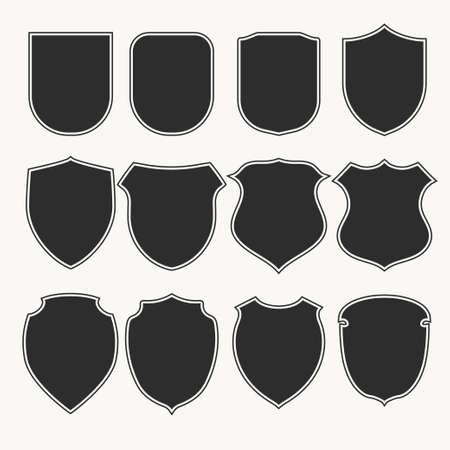 Heraldische schilden pictogrammen instellen silhouetten. vector illustratie
