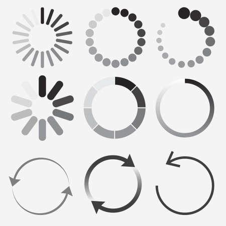 Loading status icons, round progress bar. vector
