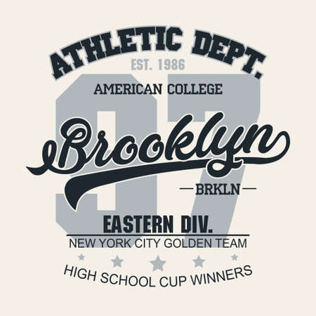 Gráfico de sello de camiseta, emblema de tipografía de ropa deportiva de Nueva York Estampado de camiseta vintage de Brooklyn, estampado gráfico de camiseta de diseño de ropa deportiva. vector