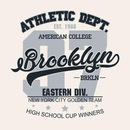 Graficzny znaczek na koszulce, emblemat typografii New York Sport Wear Brooklyn vintage tee print, graficzny nadruk na koszuli z nadrukiem sportowym. wektor