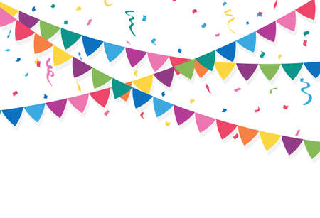 Party flags with Confetti And Ribbons. vector