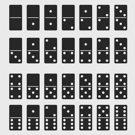 Domino full set. Dominoes bones signs isolated. vector Illustration
