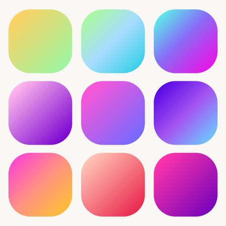 Gradient holographic button set Trendy soft Multicolor fluid covers. Vector Иллюстрация