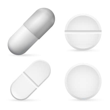 Pills Capsules Template, 3d Realistic White Medical Pill Icon Set Closeup. Pharmacy treatment. Vector Иллюстрация