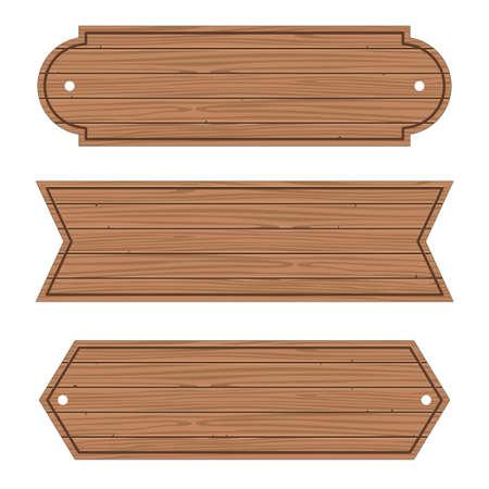 Cartoon Wood Banners Wooden planks set. Vector Иллюстрация