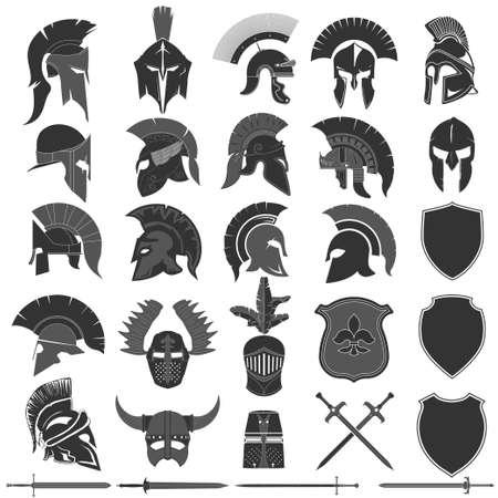 Spartanisches Helmset, griechischer Krieger. Spartanischer Kriegerhelm Vektorgrafik