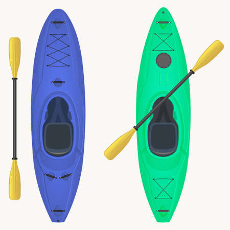 Kayak and paddle. Kayaking Water Sport, Outdoor Activities in Summertime, Canoe Top View. Rafting vessel, Fishing and tourism. Vector