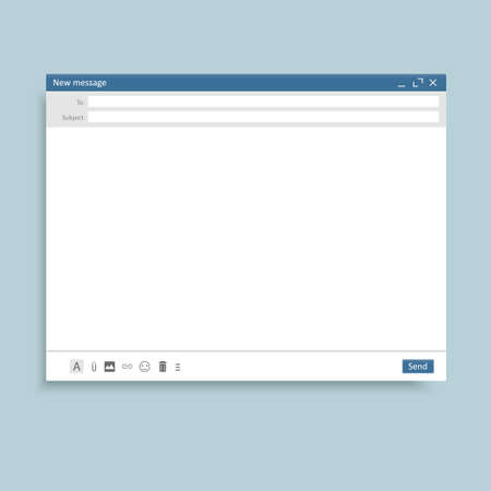 Email window interface template. Mail message interface blank website panel screen with send form. Vector