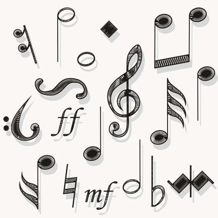 Music notes. Musical notation. Muzician staff treble clef for song. vector