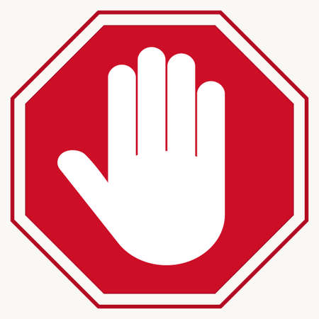 Stop Red octagonal stop-hand sign for prohibited activities Ilustrace