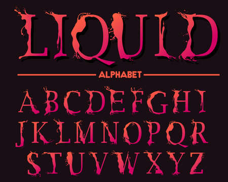 Alphabet letters, stylized colorful abc, liquid ink font. Vector Иллюстрация
