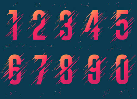 Numbers with liquid splash and drops, abstract colorful digits, ink mathematic symbol. Vector