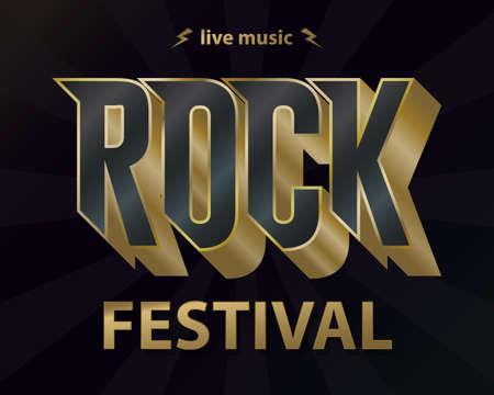 Rock music festival poster, hipster rock-n-roll vintage label graphic design. Vector Иллюстрация