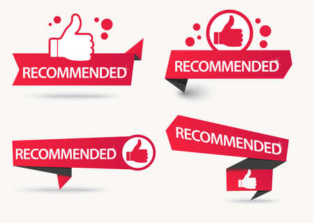 Recommended banner with thumbs up. Paper ribbon Vector Ilustrace