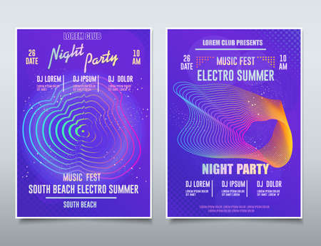 Flyer Electronic music festival, Sound Event, DJ Party abstract musical poster, Technology Background. Vector